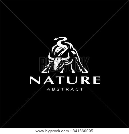 Muscular Bull Or Taurus With Horns. Vector Illustration