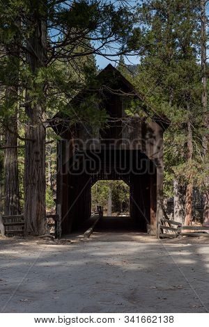 The Wawona Covered Bridge  Spanning The South Fork Of The Merced River Near Wawona, Is A Tourist Att