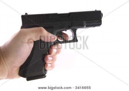 Pistol On A White Background