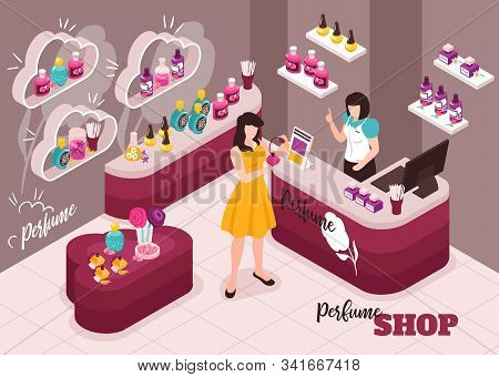 Perfume Cosmetics Luxury Beauty Makeup Shop Interior Isometric Composition With Young Woman Testing