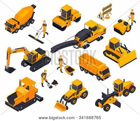 Isolated Road Construction Isometric Icon Set With Different Yellow Bulldozers Cars Machines Vector