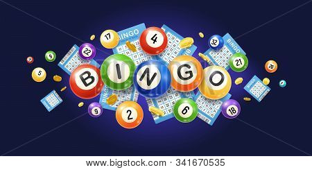 Realistic Bingo Composition With Images Of Numeric Lottery Balls With Tickets And Golden Money Coins