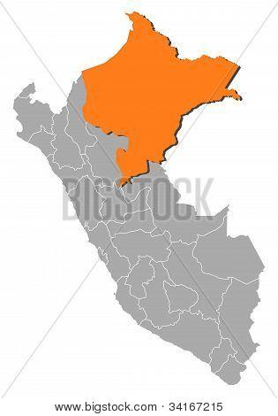 Map Of Peru, Loreto Highlighted