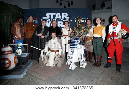 LOS ANGELES - DEC 19: Star Wars characters during the Opening night celebrations of Star Wars: The Rise Of Skywalkerr at the TCL Chinese Theatre IMAX on December 19, 2019 in Los Angeles, California
