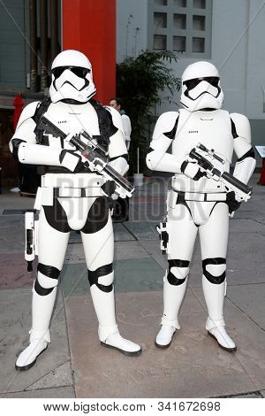 LOS ANGELES - DEC 19: Stormtroopers during the Opening night celebrations of Star Wars: The Rise Of Skywalker at the TCL Chinese Theatre IMAX on December 19, 2019 in Los Angeles, California