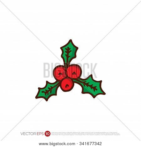 Pictograph Of Chirstmas Holly For Template Logo, Icon, Identity Vector Designs, And Graphic Resource