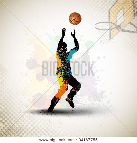 Illustration of a basketball player practicing with ball at court on colorful shiny abstract grungy background. EPS 10.