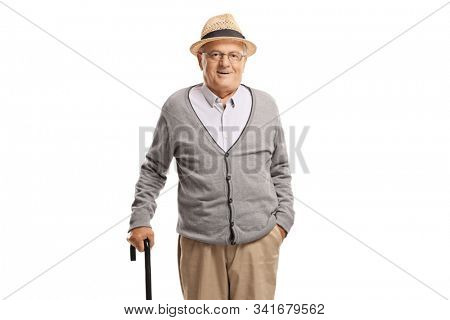 Elderly man standing with a cane isolated on white background