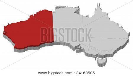Karta över Australien, Western Australia belyst
