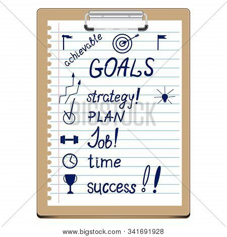 Vector Clipboard With Goals And Action Plan. List Of Important Business Development Points. Goals, S