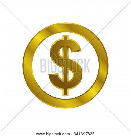 Dollar Icon Gold Isolated On White Background. Dollar Icon Simple Sign. Dollar Icon Trendy And Moder