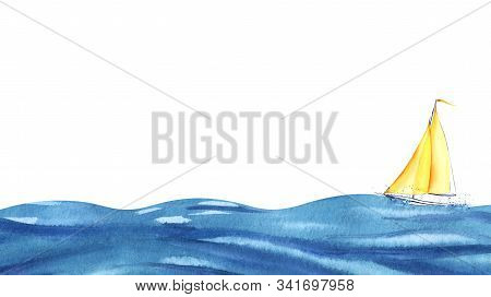 A Small Yellow Sailboat On Blue Waves. Big Ocean And Tiny Boat. Boat At Sea. Hand Drawn Watercolor I