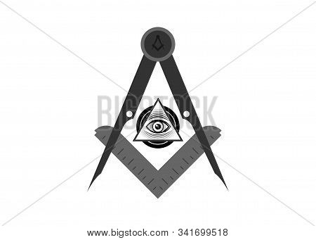 Freemasonry Emblem - The Masonic Square And Compass Symbol. All Seeing Eye Of God In Sacred Geometry