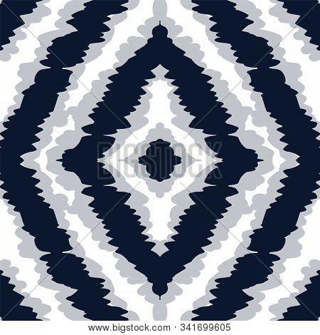 Cobalt Line Vector Seamless Pattern. Scarlet Boho Tie Dye African Texture. Red Chevron Drawing Ornam