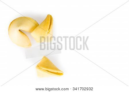 Fortune Cookies Camera Focus On The Blank White Paper Isolated On A Pure White Background With Lots