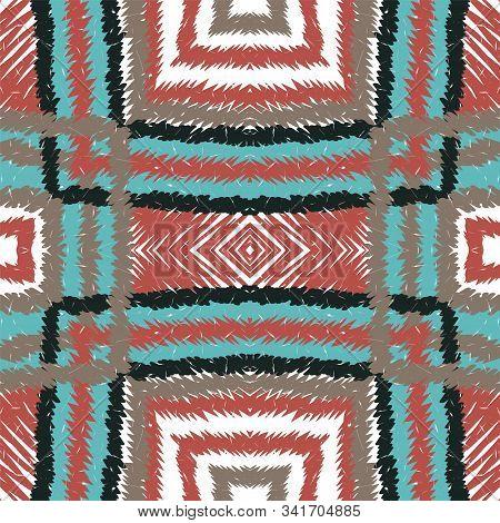 Cobalt Repeat Carpet. Scarlet Tribal Vector Seamless Pattern. Uzbek Carpet Repeat Wallpaper. Azure E