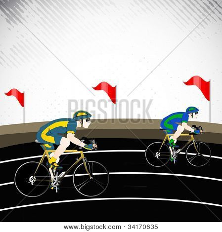 Race cyclist performing fast cycling on race track. EPS 10. poster