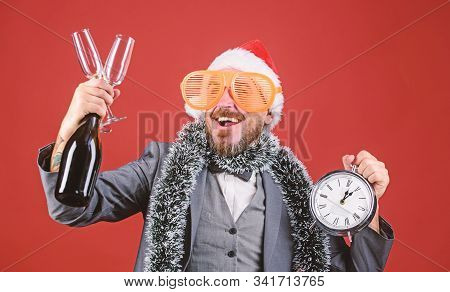 Join Christmas Celebration. Man Bearded Hipster Santa Hold Bottle. Corporate Christmas Party. Time C