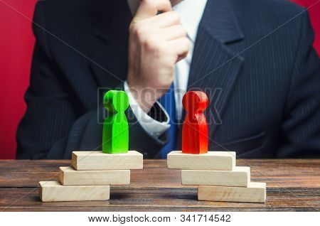 A Businessman Is Studying The Negotiation Process And Rivalry Parties. Truce Agreement. Candidates P