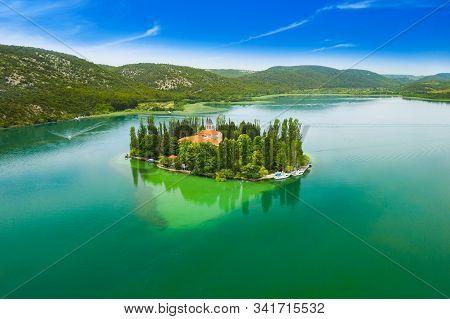 Beautiful Island Of Visovac On Lake In Krka National Park With Old Monastery, Dalmatia, Croatia, Dro