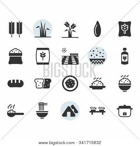 Rice Icon And Symbol Set In Glyph Design