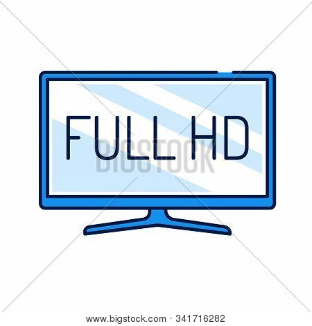 Full Hd Color Line Icon. Full High Definition. Resolution 1920 1080 Pixels And A Frame Rate Of At Le