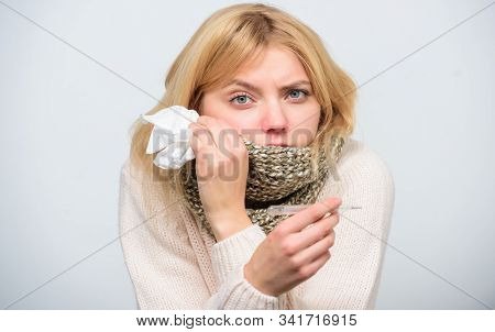 Girl Sick Hold Thermometer And Tissue. Measure Temperature. Break Fever Remedies. Seasonal Flu Conce