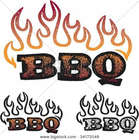 Distressed BBQ/Barbecue Text Graphic
