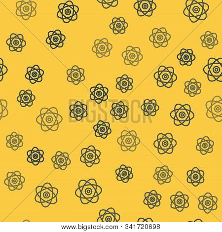 Blue Line Atom Icon Isolated Seamless Pattern On Yellow Background. Symbol Of Science, Education, Nu