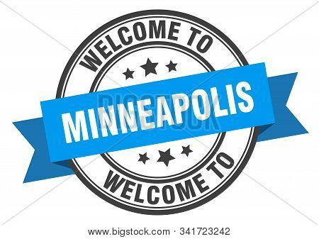 Minneapolis Stamp. Welcome To Minneapolis Blue Sign
