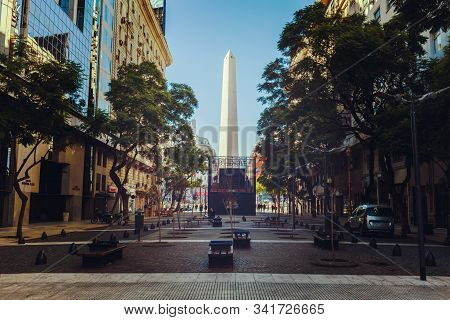 Obelik At Buenos Aires City. May 21, 2019, Argentina. Narrow Cozy Streets Of Buenos Aires With A Vie