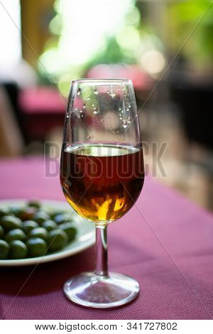 Sherry Wine Tasting In Wine Cellars, Selection Of Different Jerez Fortified Wines From Dry To Very S