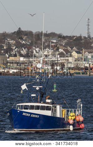 New Bedford, Massachusetts, Usa - December 7, 2019: Commercial Fishing Boat Miss Emma Crossing New B