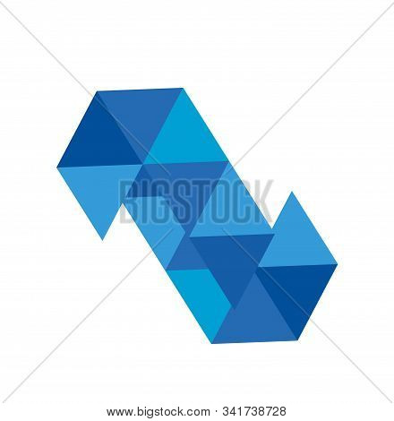 Z, S, N Initials Triangle Blue Diamond Vector Illustration And Logo