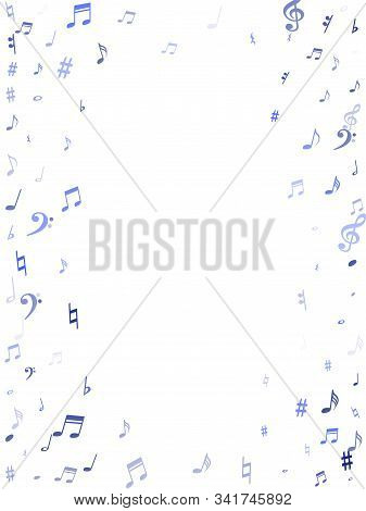 Blue Flying Musical Notes Isolated On White Backdrop. Fresh Musical Notation Symphony Signs, Notes F