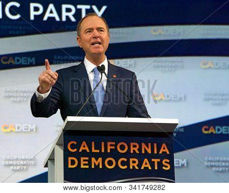 Long Beach, Ca - Nov 16, 2019: Senator Adam Schiff Speaking At The Democratic Party Endorsing Conven