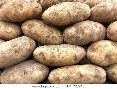 Close Up On Pile Of Russet Potatoes, Also Known As Idaho Potatoes In The U.s.. Ideal For Baking, Mas