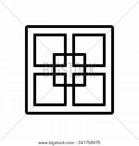 Black Line Icon For Fractal  Fractional Fragmental Partial