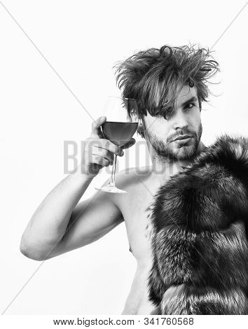 Richness And Luxury Concept. Rich Athlete Enjoy His Life. Guy Attractive Rich Posing Fur Coat On Nak