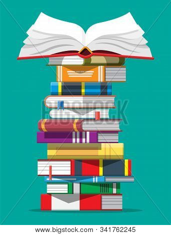 Pile Of Books. Reading Education, E-book, Literature, Encyclopedia. Vector Illustration In Flat Styl