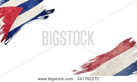Flags Of Cuba Andnederland On White Background
