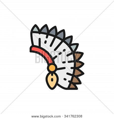 Indian Chief Headdress, Native American Hat Flat Color Line Icon.