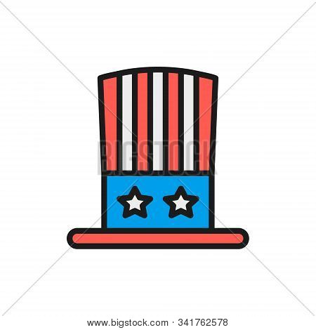 Uncle Sam Hat Flat Color Line Icon. Isolated On White Background
