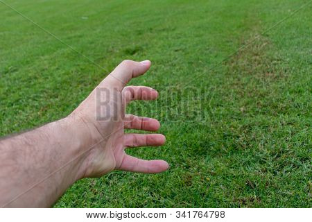 Conceptual Agony Fist And Hand On Green Grass. Struggling, Pain, Frustrated Concepts.