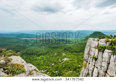Endless Crimean Mountains From Chufut-kale Plateau Viewpoint Near Bakhchisaray, Crimea