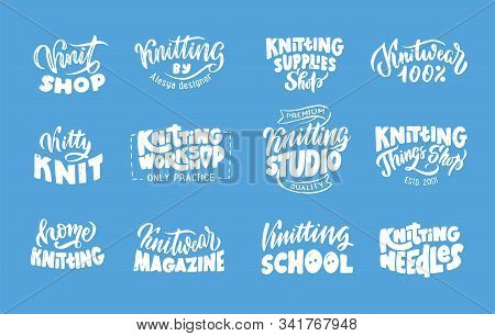 Knitting Studio, Handmade Logo, Phrases Collection. Vector Illustration