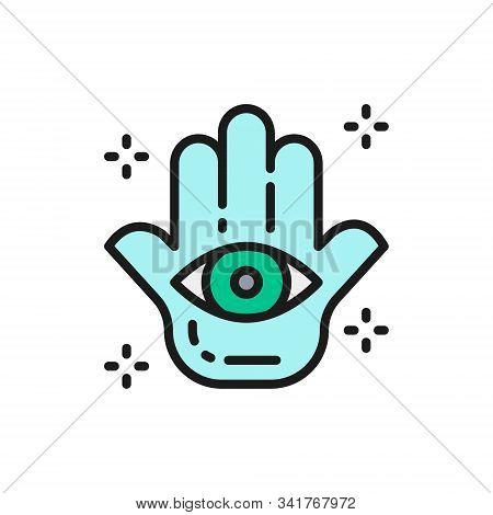 Hand Of Fatima, Hamsa Mascot, Talisman, Amulet Flat Color Line Icon.