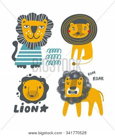 Scandinavian Posters Lion Set For Children Room Decor And Decorating.