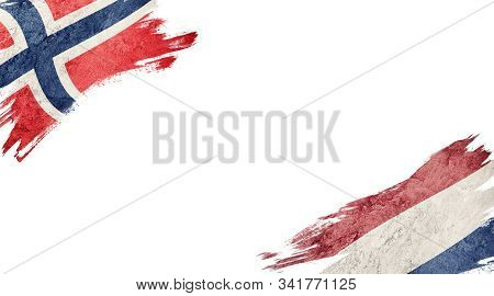 Flags Of Norway Andnederland On White Background