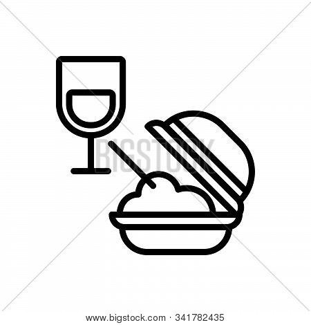 Black Line Icon For Meal Food Edible Eatable Comestible Pabulary Glass